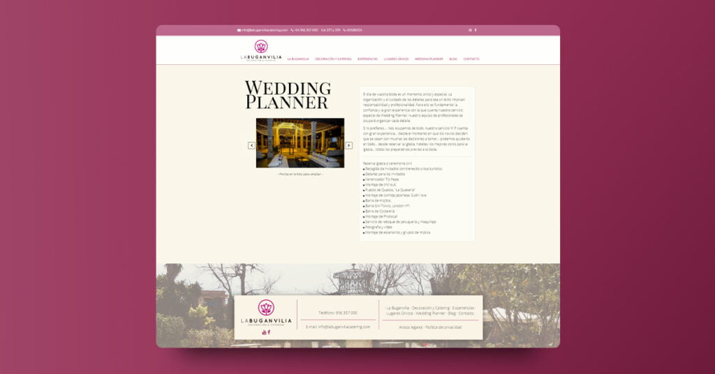 Desarrollo web Caterging La Buganvilia - Creaktiva