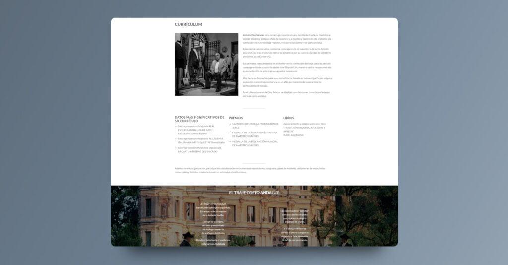 """Landing Page para Antolín Diaz Salazar """"El Traje Corto"""" - Creaktiva"""